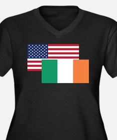 American And Irish Flag Plus Size T-Shirt
