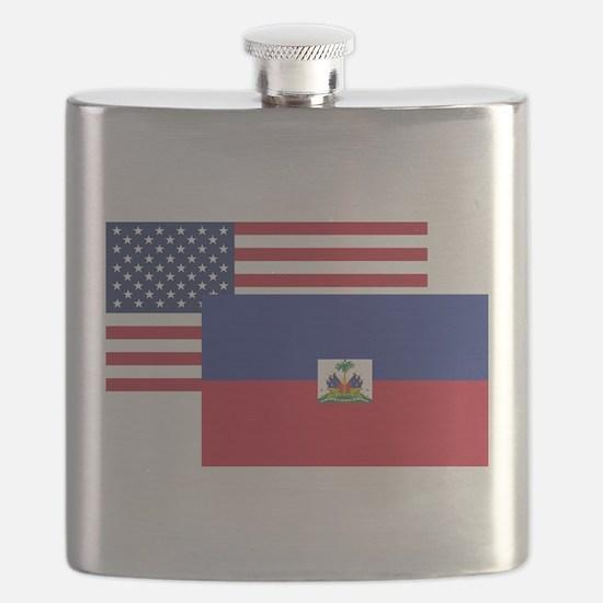 American And Haitian Flag Flask