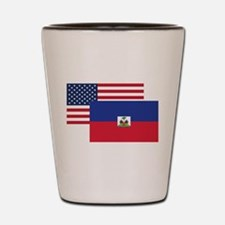 American And Haitian Flag Shot Glass