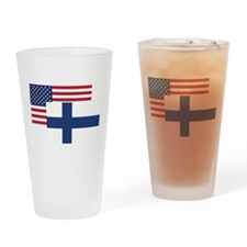 American And Finnish Flag Drinking Glass