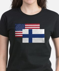 American And Finnish Flag T-Shirt