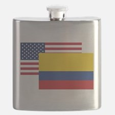 American And Colombian Flag Flask