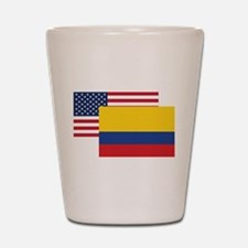 American And Colombian Flag Shot Glass