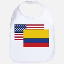 American And Colombian Flag Bib
