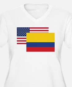 American And Colombian Flag Plus Size T-Shirt