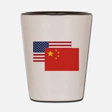 American And Chinese Flag Shot Glass