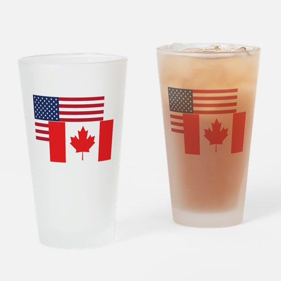 American And Canadian Flag Drinking Glass