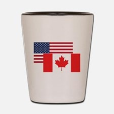 American And Canadian Flag Shot Glass
