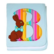 Letter B Chocolate Easter Bunny baby blanket
