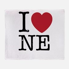 I Love NE Nebraska Throw Blanket