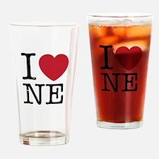 I Love NE Nebraska Drinking Glass