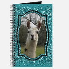 Aquamarine Glitter Llama Portrait 2 Journal