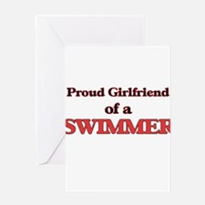 Proud Girlfriend of a Swimmer Greeting Cards