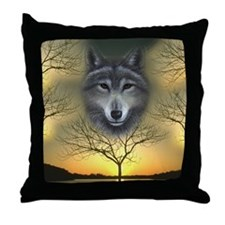 Wolf, 'Shaman's Dream' Throw Pillow