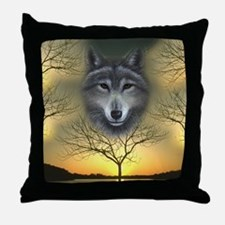 Wolf, 'Shaman's Dream' Throw Pillow