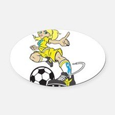 SOCCER GIRL Oval Car Magnet