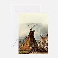 Assiniboin teepee Native Skin Lodge Greeting Cards