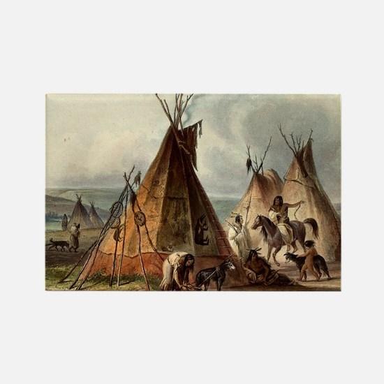 Assiniboin teepee Native Skin Lodge Magnets