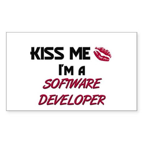 Kiss Me I'm a SOFTWARE DEVELOPER Sticker (Rectangu