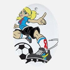 SOCCER GIRL Oval Ornament