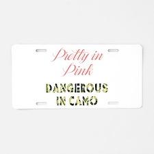 Dangerous in Camo Aluminum License Plate