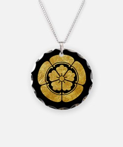 Oda Mon Japanese samurai clan gold on black Neckla