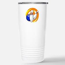Bowling ball with pins logo Travel Mug