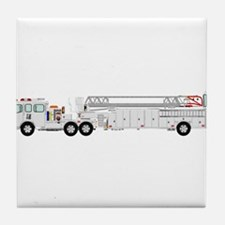 Fire Truck - Traditional ladder fire Tile Coaster