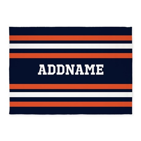 navy blue and orange sports stripes rug