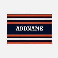 Navy Blue and Orange Sports Strip Rectangle Magnet