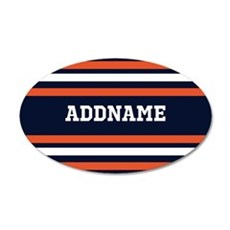 Navy Blue and Orange Sports Wall Decal