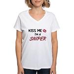 Kiss Me I'm a SNIPER Women's V-Neck T-Shirt