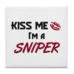 Kiss Me I'm a SNIPER Tile Coaster