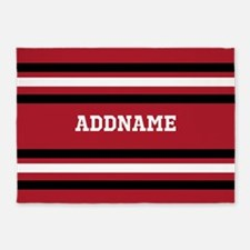 Red and Black Sports Stripes Person 5'x7'Area Rug