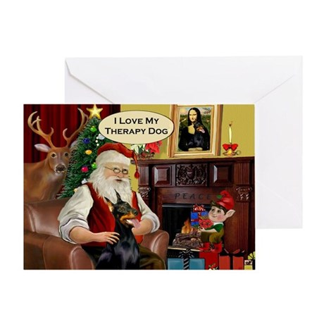 Santa's Therapy Dobie Greeting Card