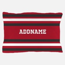 Red and Gray Sports Stripes Personaliz Pillow Case