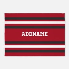 Red and Gray Sports Stripes Persona 5'x7'Area Rug