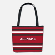 Red and Gray Sports Stripes Personalize Bucket Bag