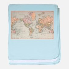 Vintage Map of The World (1892) baby blanket