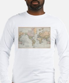 Vintage Map of The World (1892 Long Sleeve T-Shirt