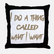 Cute What do we want coffee Throw Pillow