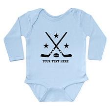 Hockey Personalized Long Sleeve Infant Bodysuit