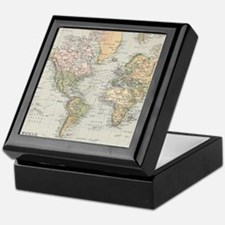 Vintage Map of The World (1892) Keepsake Box