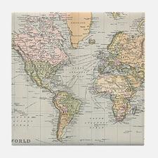 Vintage Map of The World (1892) Tile Coaster