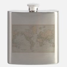 Vintage Map of The World (1892) Flask