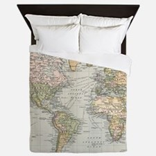 Vintage Map of The World (1892) Queen Duvet