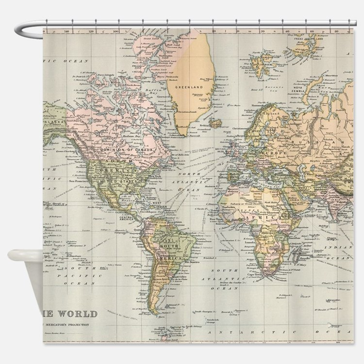 Vintage Map of The World (1892) Shower Curtain