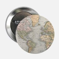 """Vintage Map of The World ( 2.25"""" Button (100 pack)"""