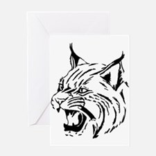Tiger Wildcat Cat Head Face Lineart Greeting Cards