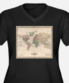 Vintage Map of The World (1833) Plus Size T-Shirt